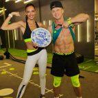 Полина и Олег на съемках сериала Фитнес